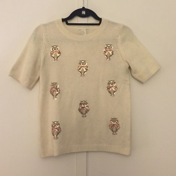 Cute Owl Theme Sweater XS Minimally worn short sleeve H&M owl sweater size XS H&M Sweaters Crew & Scoop Necks