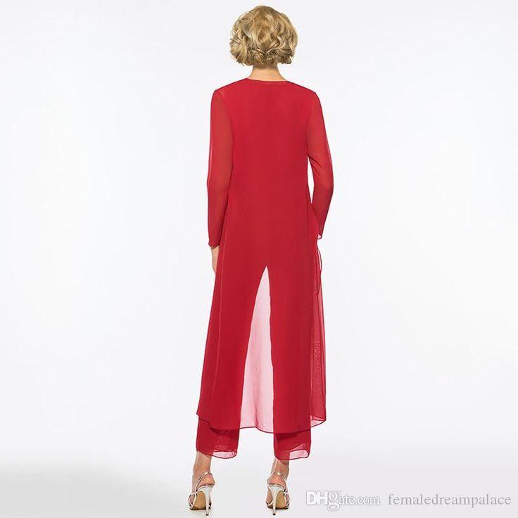 2018 Elegante rote lange Mutter der Braut Kleid Hose Anzug Mantel lange Ärmel Juwel benutzerdefinierte Hochzeit Party Mutter der Braut – maria