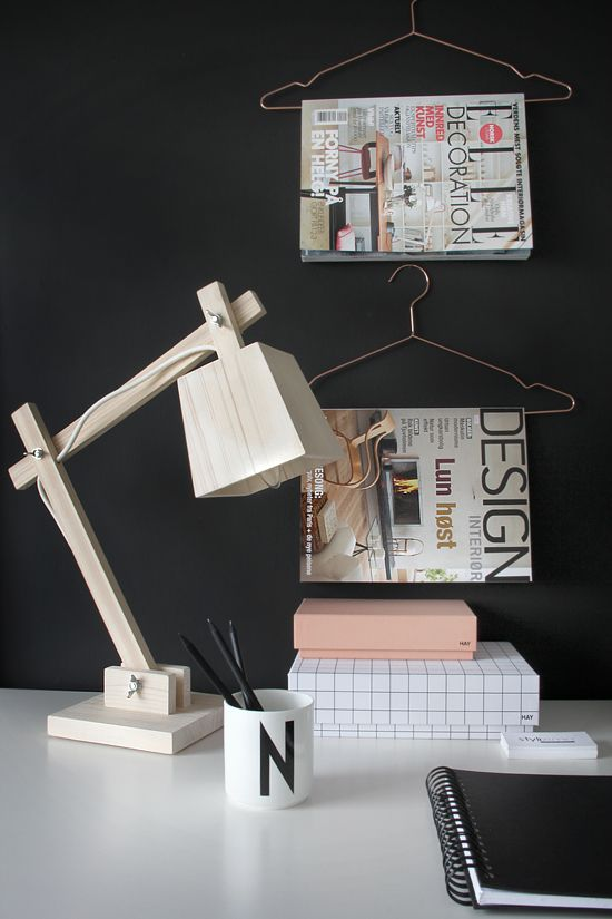 STYLIZIMO BLOG - love the wire hangers on the wall for magazines for the office