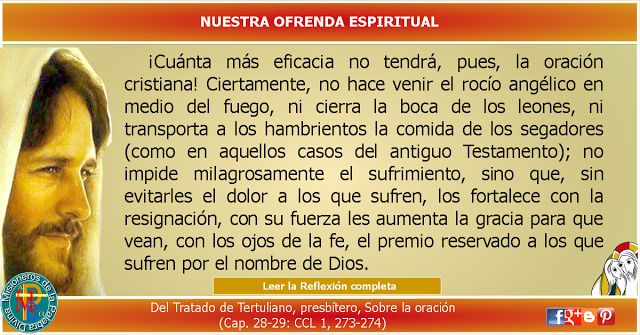 MISIONEROS DE LA PALABRA DIVINA: REFLEXIÓN - NUESTRA OFRENDA ESPIRITUAL