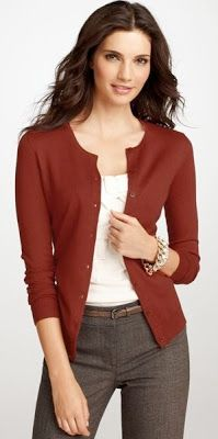 Outfit Posts: outfit post: burgundy cardigan, white tie blouse, brown 'editor' pants, leopard belt