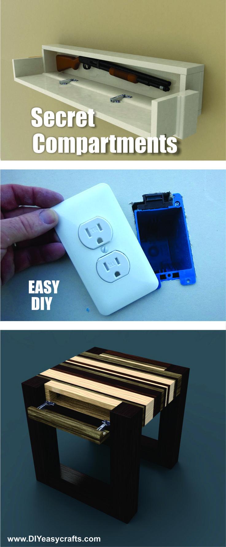 Easy DIY Secret Hidden Compartments. FREE step by step instructions. www.diyeasycrafts.com/hidden-spaces.html