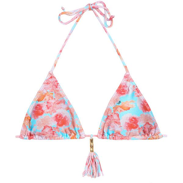 Loer Floral Triangle Bikini Top With Tassel - Soutien Turquoise... ($144) ❤ liked on Polyvore featuring swimwear, bikinis, bikini tops, hot pink, floral swimwear, floral-print bikinis, triangle bikini swimwear, swimsuit tops and tankini tops