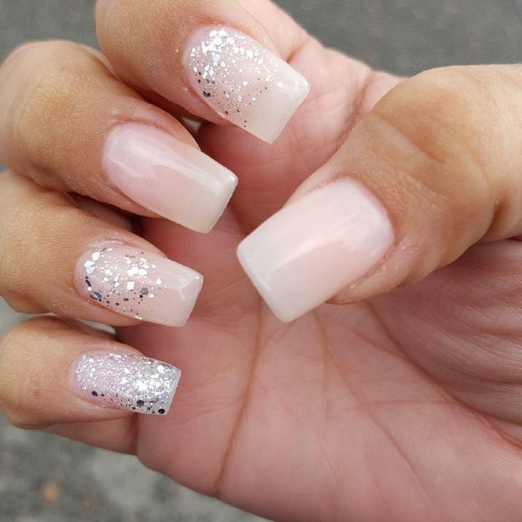 glitter gel nail design short