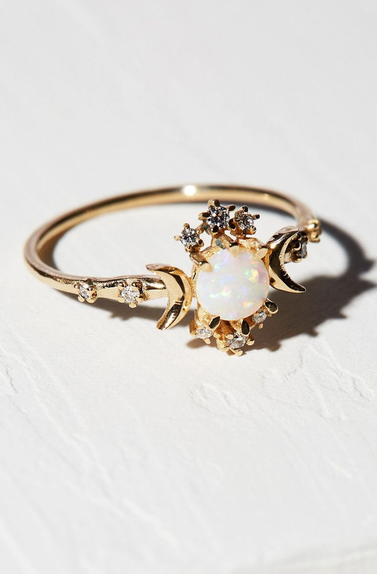 opal diamond ring - Wiccan Wedding Rings