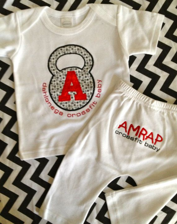 Crossfit Baby Custom Embroidered Kettlebell Shirt and Pants for Babies on Etsy, $29.99