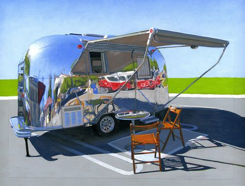 camper painting by Leah GilbersonMobiles Home, Leahgiberson, Palm Springs, Leah Giberson, Art Prints, Palms Spring, Airstream Dreams, Oil Painting, Airstream Trailers
