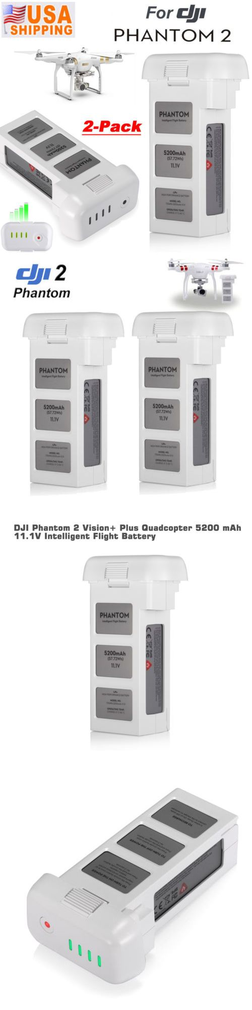 Other RC Parts and Accs 182213: 2 Pack 5200Mah 11.1V 3S Intelligent Lipo Battery For Dji Phantom 2 Vision + Plus -> BUY IT NOW ONLY: $89.99 on eBay!