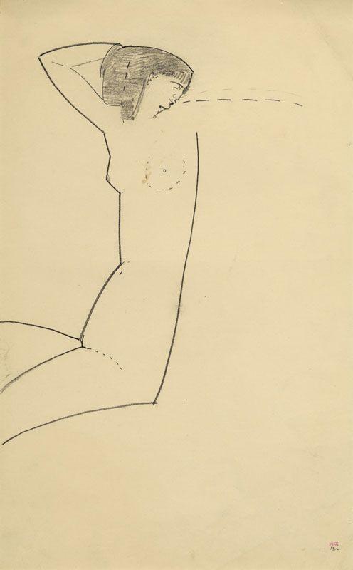 Modigliani, Anna Akhmatova, crayon noir