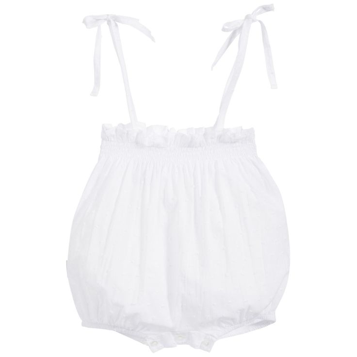 Babidu White Baby Shorts with Shoulder Straps