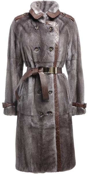 Gianfranco Ferré Mink Fur and Leather Coat in Blue