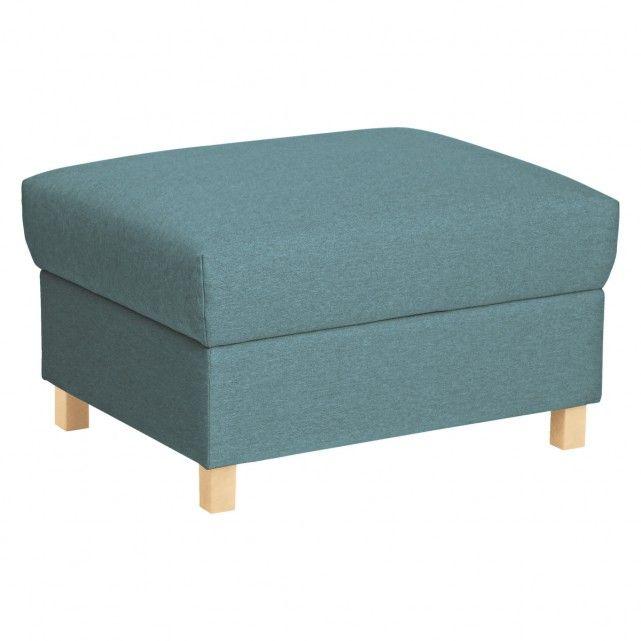 COLOMBO Teal blue fabric storage footstool