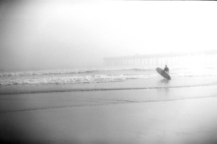 Foggy surf image created with 35mm Holga film camera.