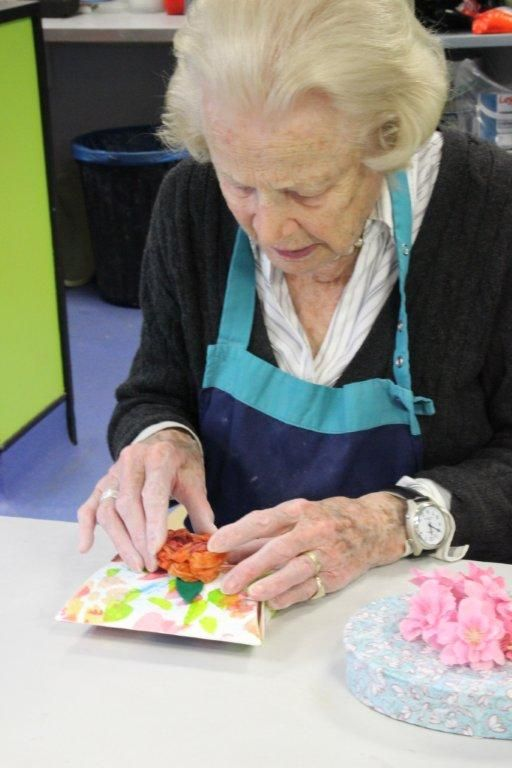 94 year old Betty Metcalfe makes an Easter box at Blind Veterans UK's Centre in Brighton  #BlindVeteransUK #Easter #Arts #Crafts #Eggs