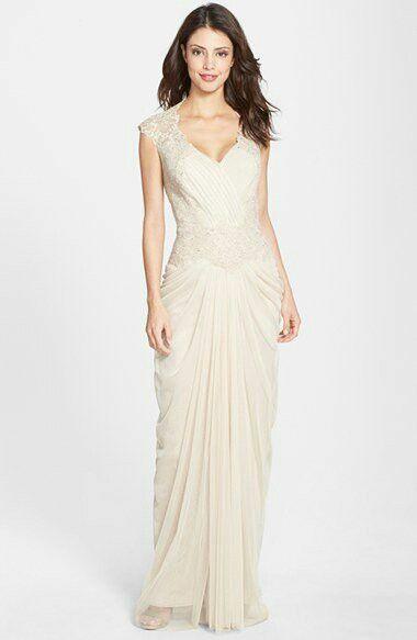 Tadashi Shoji embellished lace & tulle gown dress