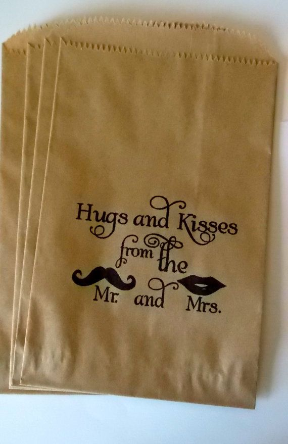 50 brown retro 'Hugs and Kisses...' candy buffet bags, wedding cake bags,candy station bags, favor bags on Etsy, $21.18 CAD