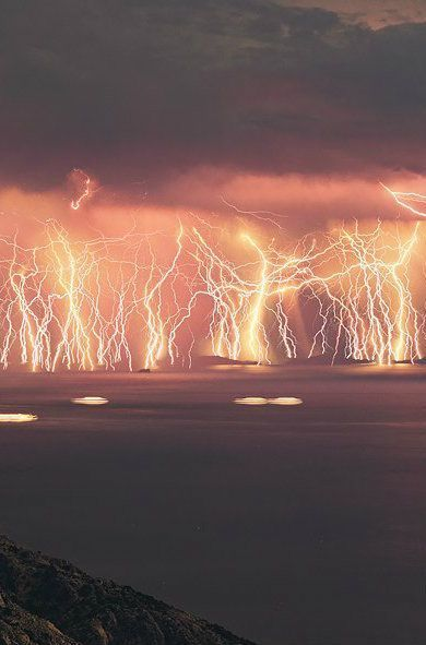 Catatumbo Lightning - At the point where the Catatumbo River meets Lake Maracaibo in Venezuela, a constant lightning storm illuminates the sky for around 10 hours a night, for almost half the nights out of the year.  ✮ www.pinterest.com/WhoLoves/Nature ✮ #nature