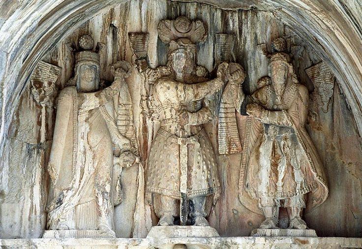 """Taq-e Bostan - High relief: investiture scene; from left to right: Anahita, Piruz I, Ahura Mazda Khosrau II -Shahanshah of Iran and Aniran  Khosrow II (Chosroes II in classical sources; Middle Persian: Husrō(y)), entitled """"Aparvēz"""" (""""The Victorious""""), also Khusraw Parvēz , was the last great king of the Sasanian Empire, reigning from 590 to 628."""
