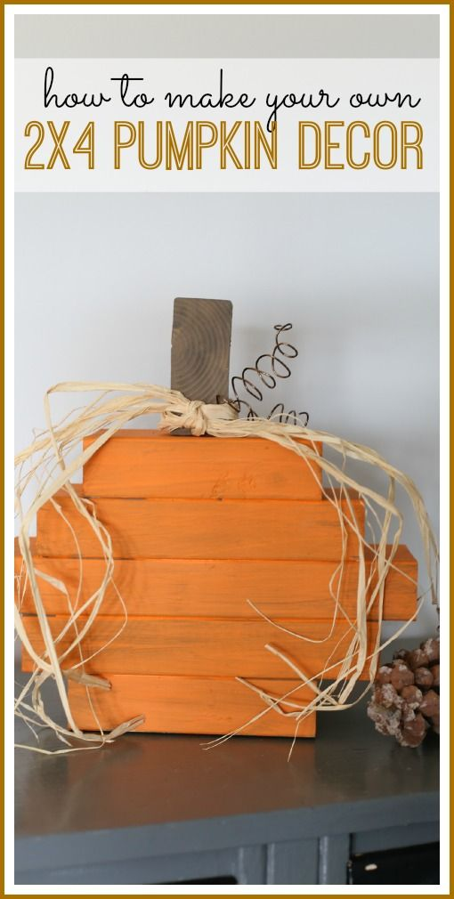 DIY Wooden Pumpkin Home Decor. Use 2x4 pieces of wood, Paint, Elmer's Wood Glue Max, and a few rustic embellishments to make festive home decor for Halloween.