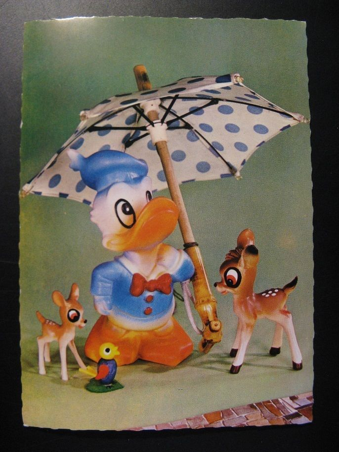 1966...Vintage Old Postcard Walt Disney: Bambi and Donald Duck...