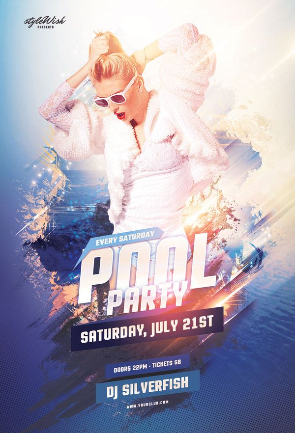 Pool party flyer pools graphics and party flyer for Club piscine flyer