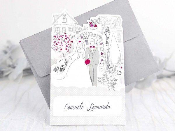 Invitatie  pentru o nunta ca in povesti! Invitatia se deschide pe orizontala si prezinta mirii intr-un decor de poveste cu o gradina special amenajata pentru ac