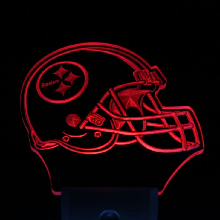 """Pittsburgh Steelers Helmet 4"""" by 4"""" LED Night Sensing Light"""