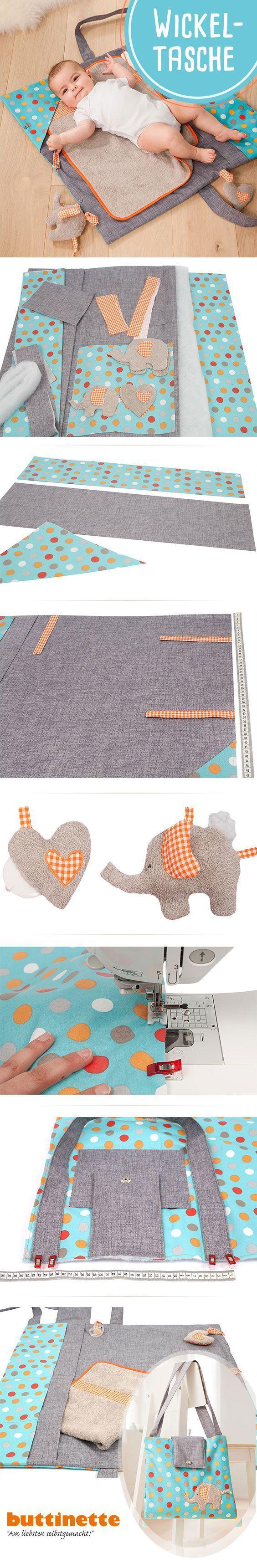 Nähanleitung für eine Wickeltasche mit Loxx-Verschluss. # Nähen #Baby #DIY