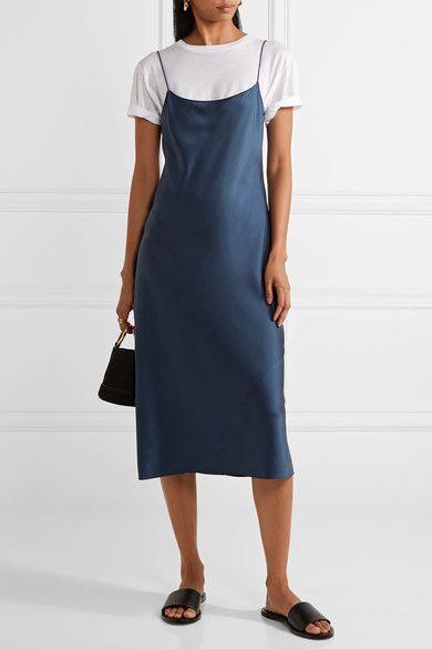 Navy silk-satin  Slips on 100% silk Dry clean Designer color: Dark Brisk Imported