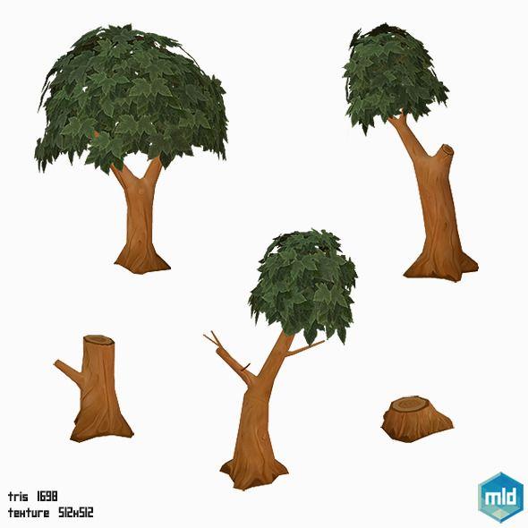 Low Poly Tree Set