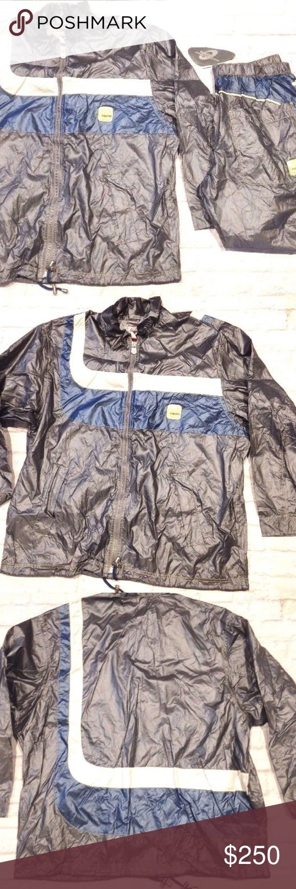PEPE JEANS METALLIC WINDBREAKER TRACKSUIT 90s rap NEW WITH TAGS  RARE VINTAGE 90's PEPE JEANS LONDON VIRTUAL LIVING METALLIC WINDBREAKER TRACK SUIT  MENS SIZE XL  JACKET pit to pit = 27'' armpit to end of sleeve = 20'' length = 38''  PANTS Inseam = 31'' Length = 43'' Elastic Waist = 20'' Pepe Jeans Jackets & Coats Windbreakers