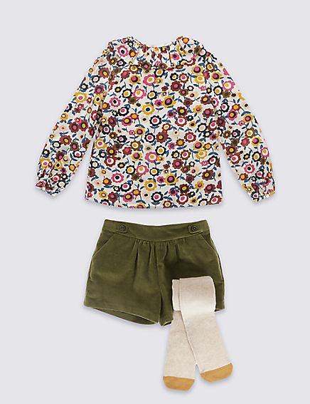 Marks and Spencer 3 Piece Top & Shorts with Tights (1-7 Years)