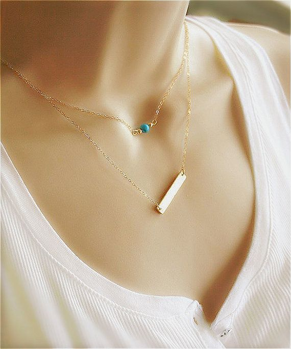 Layered Necklace Gold Bar Necklace Turquoise by smilesophie
