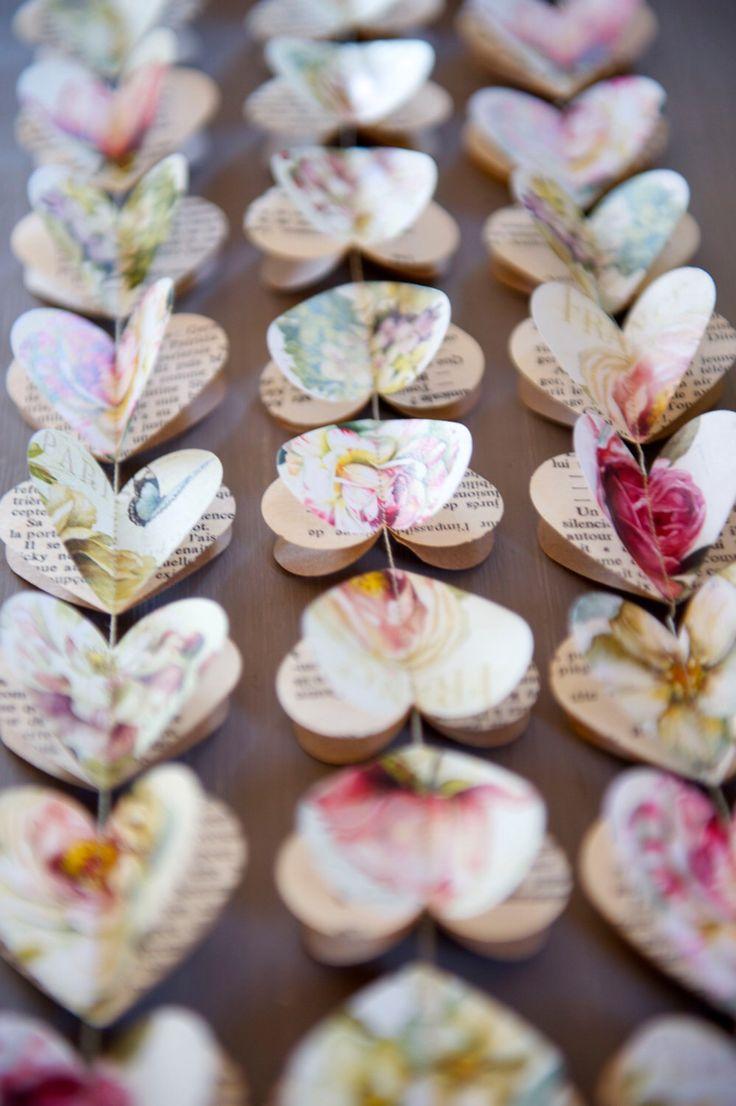 Paper garland, romantic wedding, rustic wedding, garland, heart garland, wedding garland, bridal shower, baby shower, pink peony rose by LaMiaCasa on Etsy https://www.etsy.com/listing/179539706/paper-garland-romantic-wedding-rustic