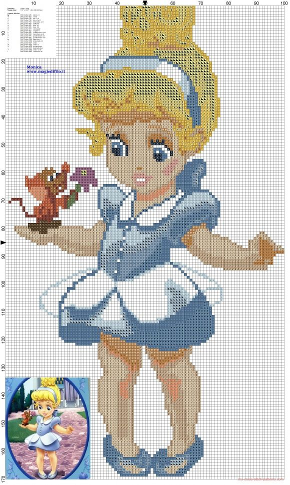 Little princess Cinderella cross stitch pattern (click to view)