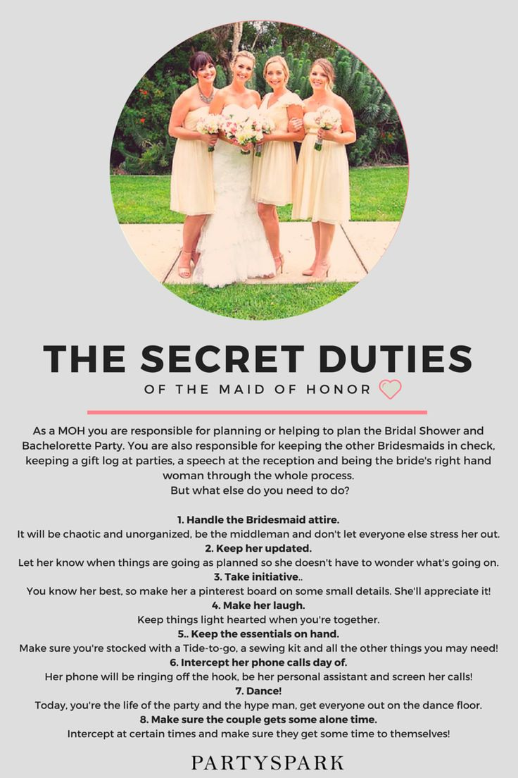 The Secret Duties of the Maid of Honor. Click to receive free weekly emails on how to become the best MOH ever! #maidofhonor #planningawedding #bridalshower #bacheloretteparty #maidofhonorduties #bridesmaids #bridesmaidsduties #bridesmaidsdresses