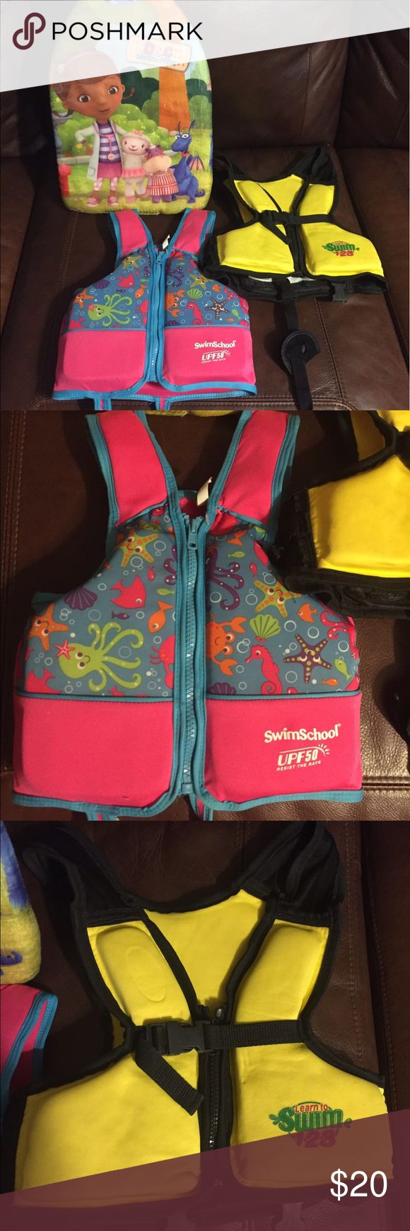 Swim vest bundle Two swim vests with parachute hooks and Dora paddle board.  Pink vest has one latch.  Yellow vest parachute latches are broken (easily replaced).  Feel free to make offer! Swim