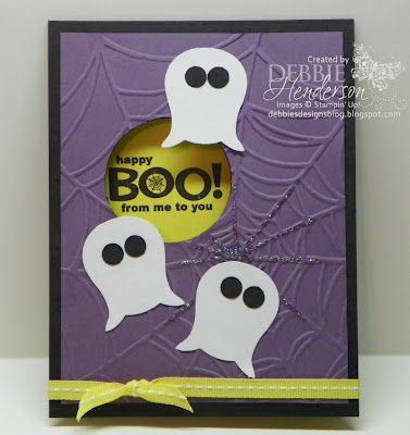 Peek-A-Boo Punch Art Ghosts, Stampin' Up! products by Debbie Henderson, Debbie's Designs.