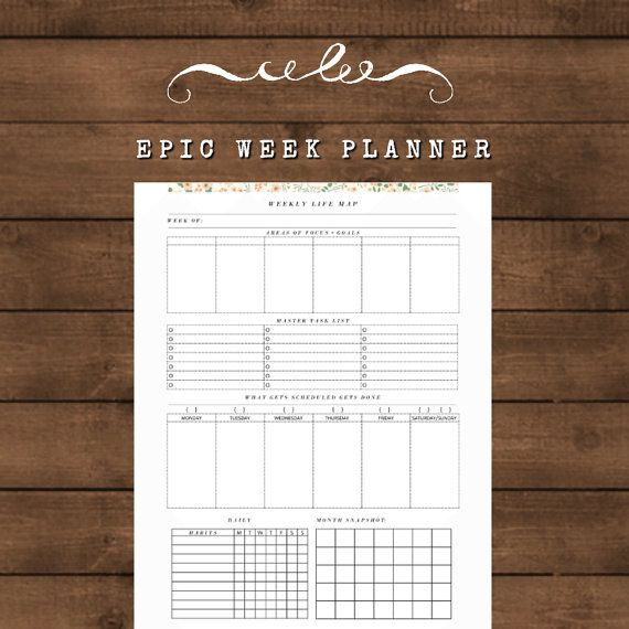 Weekly Life Map Printable A4 8.5 x 11 Habits by SecretOwlSociety