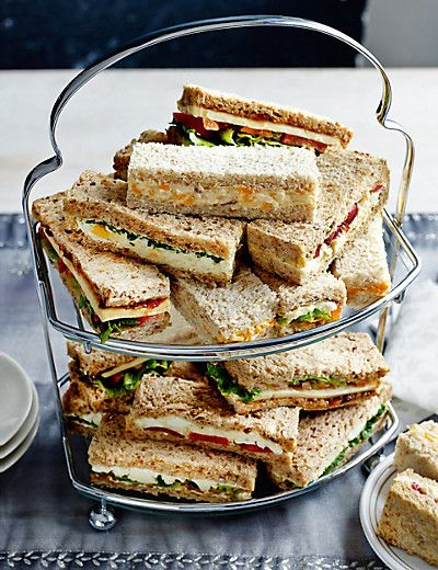 Vegetarian Finger Sandwich Platter: Wensleydaye and carrot Egg and watercress Cheese and onion Egg tomato and salad cream Cheddar cheese ploughmans