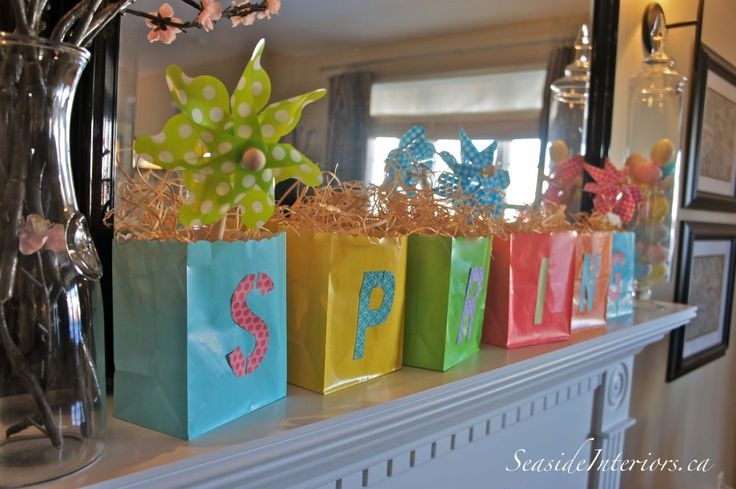 Spring Mantel ideaSpring Mantles, Mantles Decor, Gift Bags, Paper Bags, Easter Spr, Living Room, Easter Decor, Colours Paper, Classroom Ideas