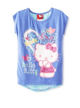 67% OFF Hello Kitty Girl's Graphic T-Shirt with Chiffon Back (Baja Blue)