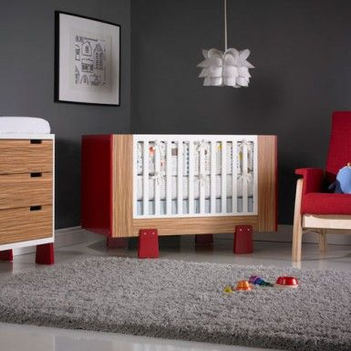 Dutailier Papaya Crib In Red And Exotic Natural 3 Drawer Dresser Red Urban  Glider Made