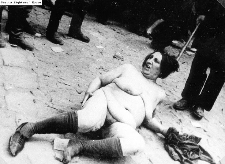 Jewish woman lying naked on a Lvov street, during the pogroms of early July 1941.
