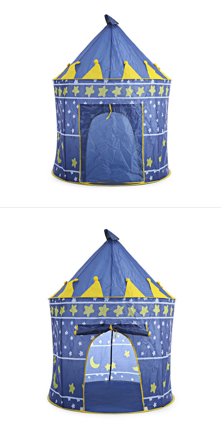 2 Colors Portable Foldable Play Tent Prince Folding Tent Kids Children Boy Castle Cubby Play House Kids Gifts Outdoor Toy Tents (6)