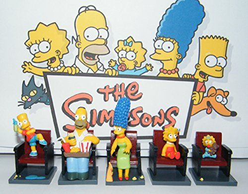 Simpsons Movie Figure Toy Set of 5 all in neat Movie Chairs with Homer, Bart, Lisa, Marge and More!