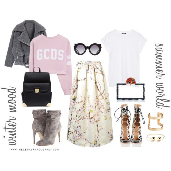 Summer Lady, Winter Lady by helenabranquinho on Polyvore featuring moda, Balmain, Burberry, H&M, Crap, styling and fashionblog