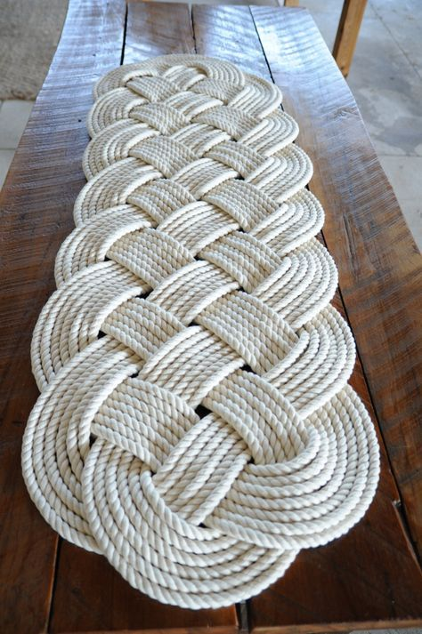 Nautical Rope Rug Large Bath Mat Off White 100 Cotton by OYKNOT, $250.00