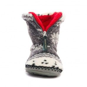 Cruise - Fairisle Sherpa Fleece Slipper Boots - Grey / Red