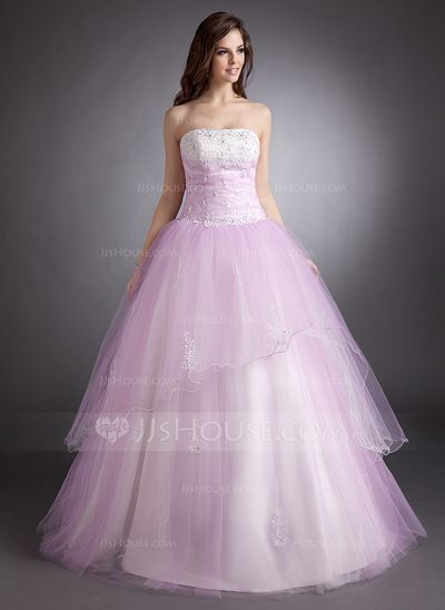 Quinceanera Dresses - $198.99 - Ball-Gown Strapless Floor-Length Satin Tulle Quinceanera Dress With Lace Beading (021016256) http://jjshouse.com/Ball-Gown-Strapless-Floor-Length-Satin-Tulle-Quinceanera-Dress-With-Lace-Beading-021016256-g16256